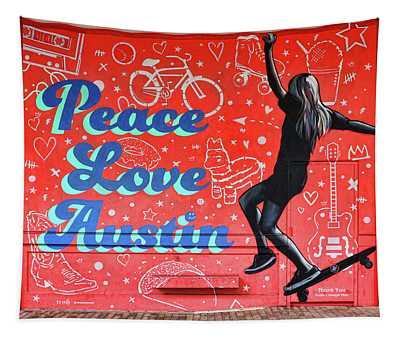 Austin Murals # 8 - Peace Love Austin Tapestry
