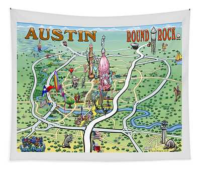 Austin Round Rock Texas Fun Map Tapestry