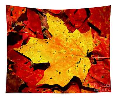 Autumn Beige Yellow Leaf On Red Leaves Tapestry