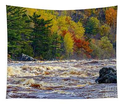Autumn Colors And Rushing Rapids   Tapestry