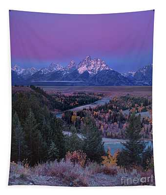 Autumn Dawn Snake River Overlook Grand Tetons Np Wyoming Tapestry