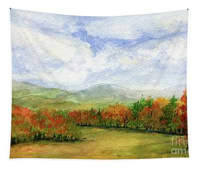 Autumn Day Watercolor Vermont Landscape Tapestry