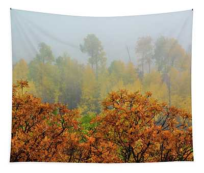 Tapestry featuring the photograph Autumn Foggy Day by John De Bord