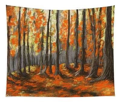 Tapestry featuring the painting Autumn Forest by Anastasiya Malakhova