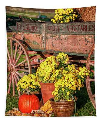 Autumn Harvest Vintage Wagon Tapestry