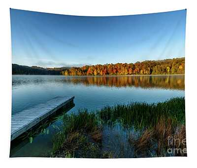 Autumn Morning By The Dock Tapestry