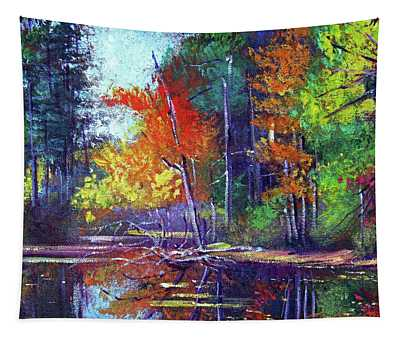 Autumn Reflects On The Pond Tapestry