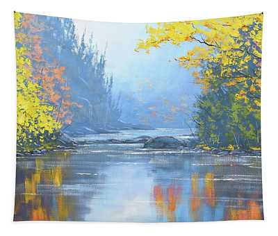 Autumn River Trees Tapestry