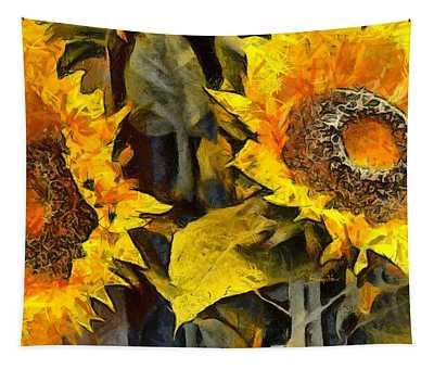 Autumn Sunflowers Tapestry