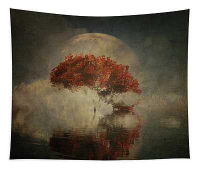 Tapestry featuring the digital art Autumn Tree In The Mist by Jan Keteleer