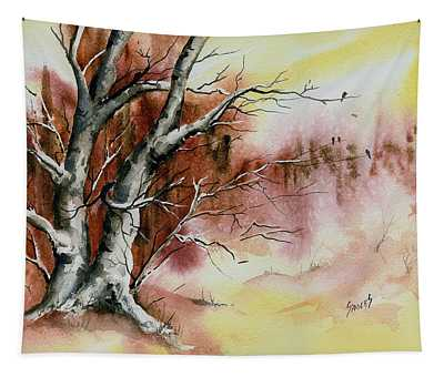 Autumn Tree With Birds Tapestry