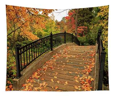 Autumn Walkway Bridge Tapestry