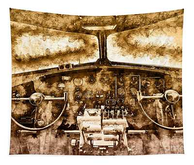 Tapestry featuring the photograph B17 Controls by Matthew Nelson