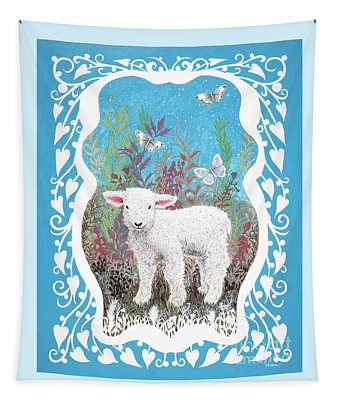Baby Lamb With White Butterflies Tapestry
