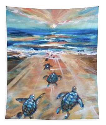Baby Sea Turtle Fantasy Tapestry