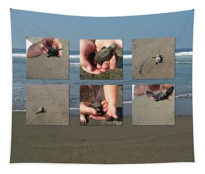 Releasing Baby Turtles Into Water - Collage Tapestry