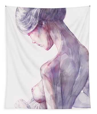 Back Side Watercolor Portrait Of A Girl Tapestry