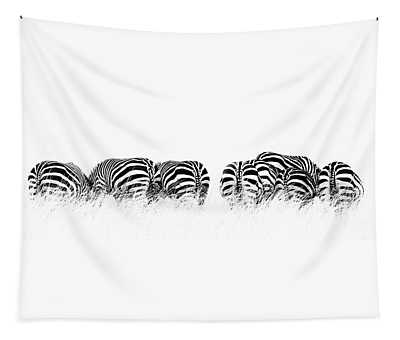 Back View Of Zebras In A Row  Horizontal Banner Tapestry