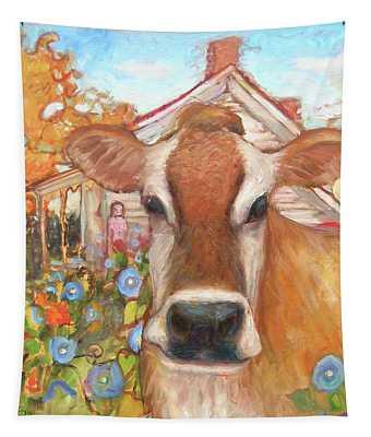 Backyard Cow Tapestry