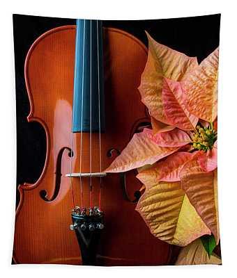 Baeutiful Violin And Poinsettia Tapestry