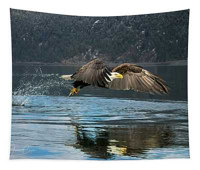 Bald Eagle With Catch Tapestry