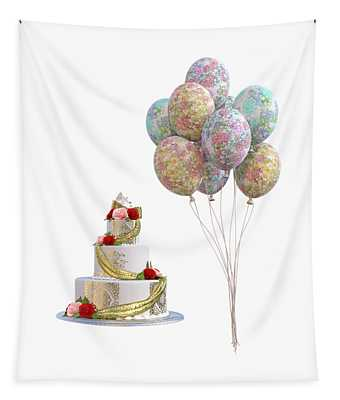 Balloons And Cake Tapestry