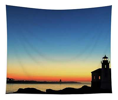 Bandon Lighthouse Twilight Panorama Tapestry