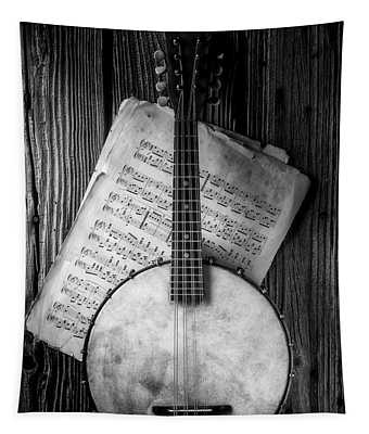 Banjo And Sheet Music Black And White Tapestry