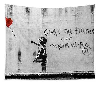 Banksy Balloon Girl Fight The Fighters Tapestry