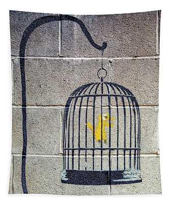 Banksy Bird Cage Detroit Tapestry