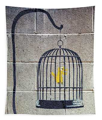 Banksy Bird Cage Detroit Tapestry