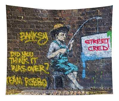 Banksy Boy Fishing Street Cred Tapestry