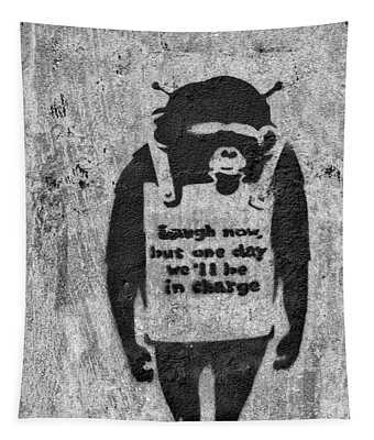 Banksy Chimp Laugh Now Graffiti Tapestry