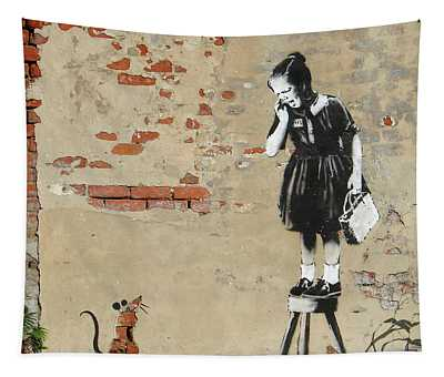 Banksy New Orleans Girl And Mouse Tapestry