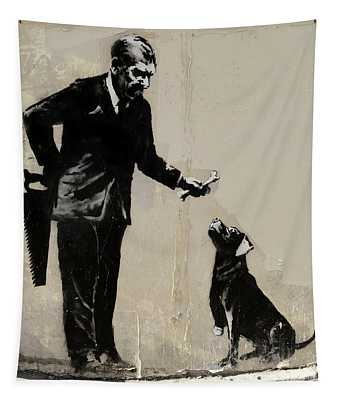 Banksy Paris Man With Bone And Dog Tapestry