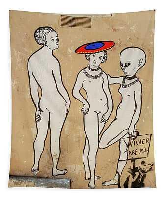 Banksy Paris Winner Take All Tapestry