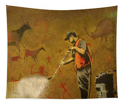 Banksy's Cave Painting Cleaner Tapestry