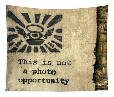 Banksy's This Is Not A Photo Opportunity Tapestry