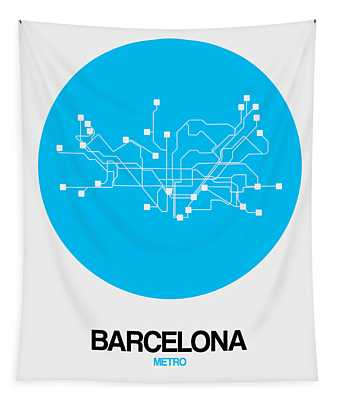 Barcelona Blue Subway Map Tapestry