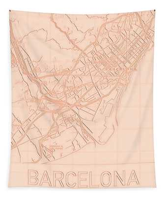 Barcelona Blueprint City Map Tapestry