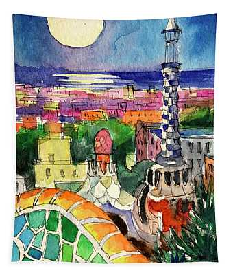 Barcelona By Moonlight Watercolor Painting By Mona Edulesco Tapestry