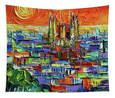 Barcelona Orange View - Sagrada Familia View From Park Guell - Abstract Palette Knife Oil Painting Tapestry