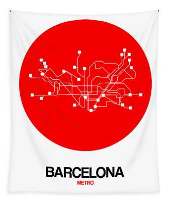 Barcelona Red Subway Map Tapestry