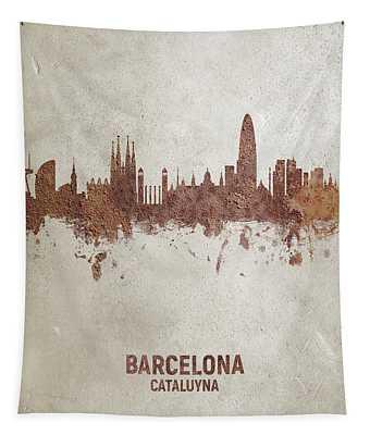 Barcelona Spain Rust Skyline Tapestry