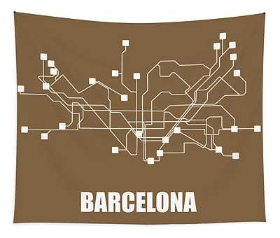 Barcelona Subway Map 2 Tapestry
