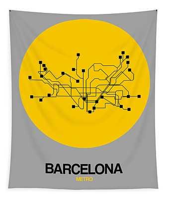 Barcelona Yellow Subway Map Tapestry