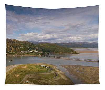 Barmouth And The Mawddach Estuary Aerial Panorama Tapestry