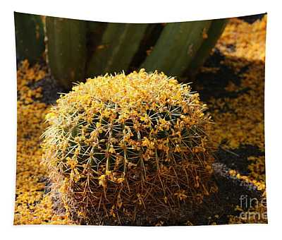 Barrel Cactus Covered In Butter Yellow Palo Brea Blossoms In Landscape Tapestry