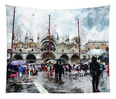 Basilica Of Saint Mark In Venice, Italy - Watercolor Effect Tapestry