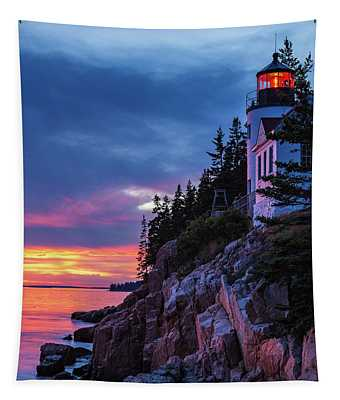 Bass Harbor Head Lighthouse At Twilight Tapestry